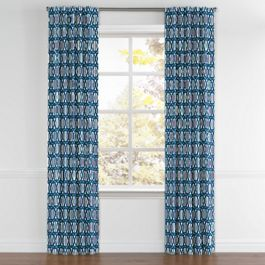 Bright Blue Trellis Back Tab Curtains Close Up