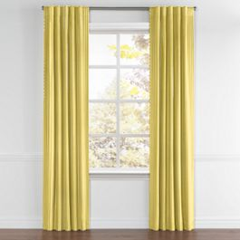 Bright Yellow Thin Stripe Back Tab Curtains Close Up