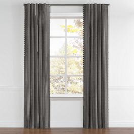 Black & White Thin Stripe  Back Tab Curtains Close Up