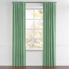 Emerald Green Thin Stripe Back Tab Curtains Close Up