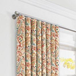 Multicolor Red Paisley Ripplefold Curtains Close Up