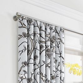 Gray Floral & Bird Ripplefold Curtains Close Up