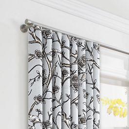 Gray Floral & Bird Ripplefold Curtains Close Up