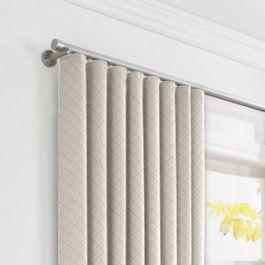 Gray Diamond Pintuck Ripplefold Curtains Close Up