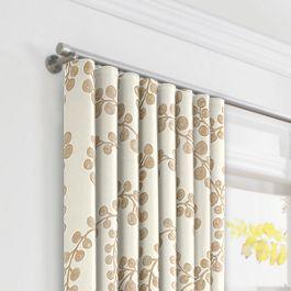 Gold Metallic Swirl Ripplefold Curtains Close Up