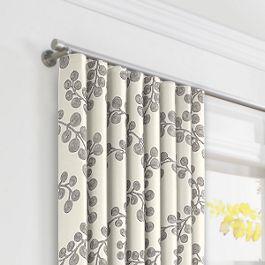 Gray Botanical Swirl Ripplefold Curtains Close Up