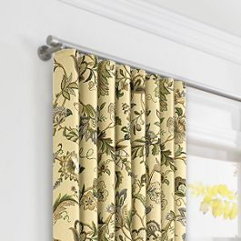 Jacobean Beige Floral Ripplefold Curtains Close Up