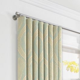 Aqua Medallion Trellis Ripplefold Curtains Close Up