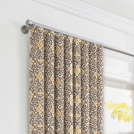 Tan & Gold Moroccan Mosaic Ripplefold Curtains Close Up