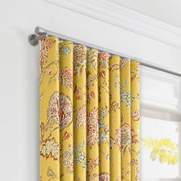 Delicate Yellow Floral Ripplefold Curtains Close Up