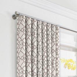 Gray Moroccan Trellis Ripplefold Curtains Close Up