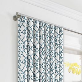 Turquoise Trellis Scroll Ripplefold Curtains Close Up
