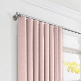 Pastel Pink Linen Ripplefold Curtains Close Up