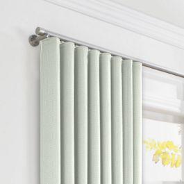 Pale Seafoam Slubby Linen Ripplefold Curtains Close Up