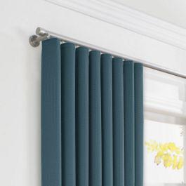 Dark Navy Slubby Linen Ripplefold Curtains Close Up
