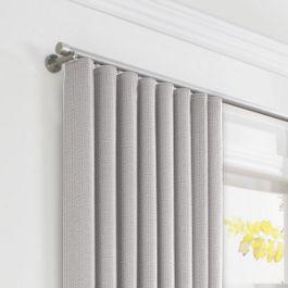 Purple Gray Slubby Linen Ripplefold Curtains Close Up