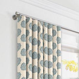 Blue Medallion Block Print Ripplefold Curtains Close Up