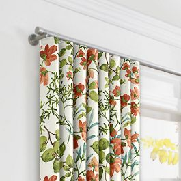 Coral Watercolor Floral Ripplefold Curtains Close Up
