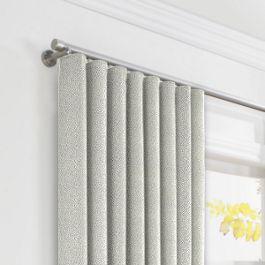 Metallic Silver Shagreen Ripplefold Curtains Close Up
