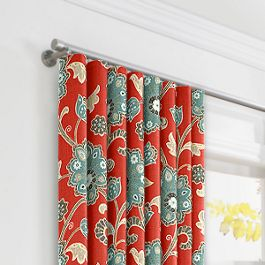 Aqua & Red Floral Ripplefold Curtains Close Up