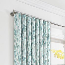 Aqua Blue Watercolor Ripplefold Curtains Close Up