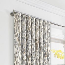 Tan & Gray Faux Bois Ripplefold Curtains Close Up