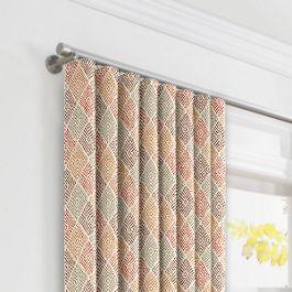 Orange Diamond Block Print Ripplefold Curtains Close Up
