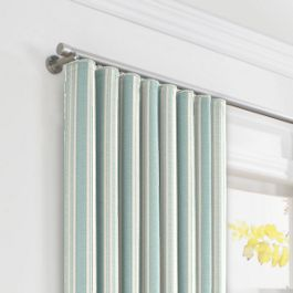 Handwoven Aqua Stripe Ripplefold Curtains Close Up