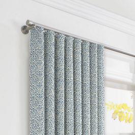 Blue Ogee Block Print Ripplefold Curtains Close Up