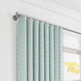Aqua Geometric Maze Ripplefold Curtains Close Up