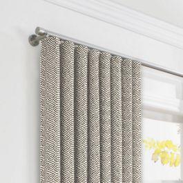 Taupe Geometric Maze Ripplefold Curtains Close Up