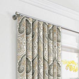 Gray & Tan Paisley Ripplefold Curtains Close Up
