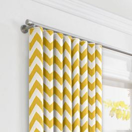 Bright Yellow Chevron Ripplefold Curtains Close Up