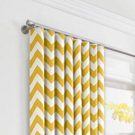 Bright Yellow Chevron Ripplefold Curtains Close Up