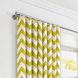 Lime Green Chevron Ripplefold Curtains Close Up