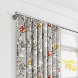Modern Gray Floral Ripplefold Curtains Close Up