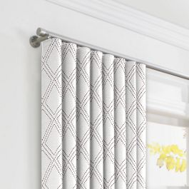 Embroidered Gray Diamond Ripplefold Curtains Close Up