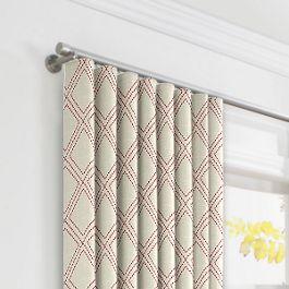 Embroidered Red Diamond Ripplefold Curtains Close Up
