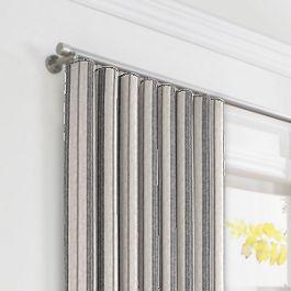 Rustic Gray Stripe Ripplefold Curtains Close Up