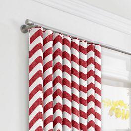 White & Red Chevron Ripplefold Curtains Close Up