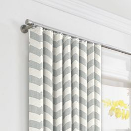 Light Gray Chevron Ripplefold Curtains Close Up