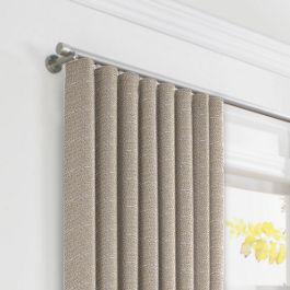 Silvery Gray Metallic Linen Ripplefold Curtains Close Up