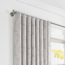 Embroidered Gray Trellis Ripplefold Curtains Close Up