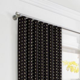 Gold Studded Black Ripplefold Curtains Close Up