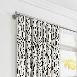 Black & White Animal Print Ripplefold Curtains Close Up