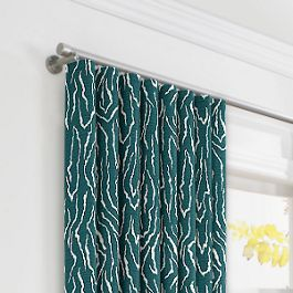 Teal Animal Print Ripplefold Curtains Close Up