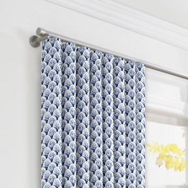 Nautical Blue Scallop Ripplefold Curtains Close Up