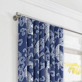 Royal Blue Koi Fish Ripplefold Curtains Close Up