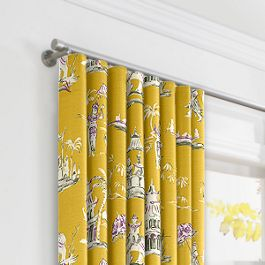 Purple & Yellow Chinoiserie Ripplefold Curtains Close Up
