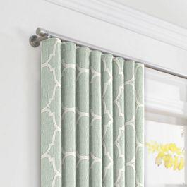 Sea Green Quatrefoil Ripplefold Curtains Close Up